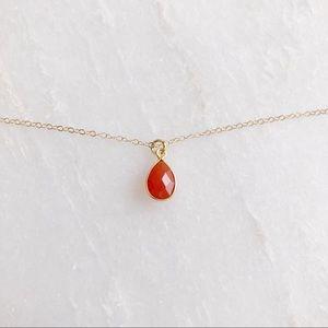 Jewelry - 14k Gold Filled Carnelian Stone Dainty Necklace